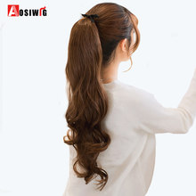AOSIWIG Long Wavy Ponytail Hairpieces Heat Resistant Fake Hairstyles Long Wavy Flip Clip in Hair Extensions Hair Tail Ponytail(China)