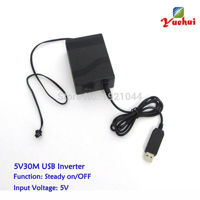 Новый Стиль 5 В 30 м USB Порты и разъёмы el wire драйвер работает на мобильный аккумулятор для вождения 1-30 м провод el или Эль Клейкие ленты для Свад...