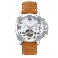 Relógio de Homens Marca Clássico Relógio Relógios Pulseira de Couro de Esqueleto Mecânico Automático Turbilhão Masculino Relógio Ocasional Relógio de Forma