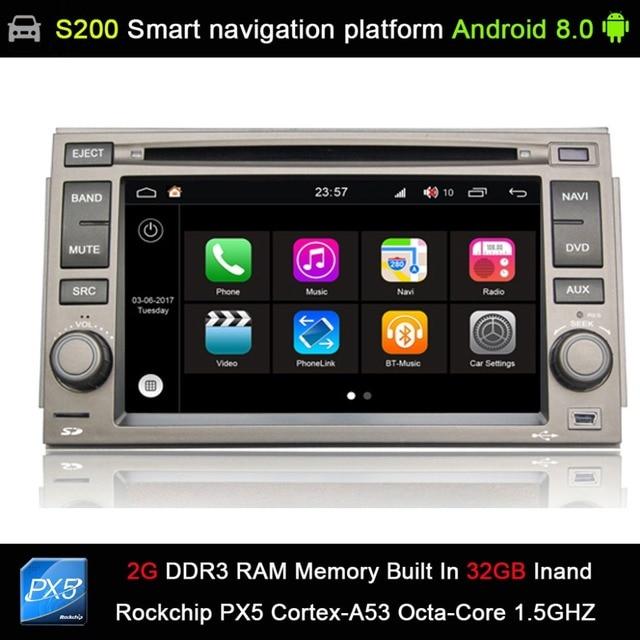 auto Android 8.0 system PX5 Octa 8-Core CPU 2G Ram 32GB Rom Car DVD Radio GPS Navigation for Hyundai Azera 2005-2011