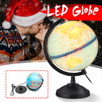 25cm Word Earth Globe Map with Led Lamp Light School Geography Educational Supplies Illuminated Tellurion Desktop Decoration