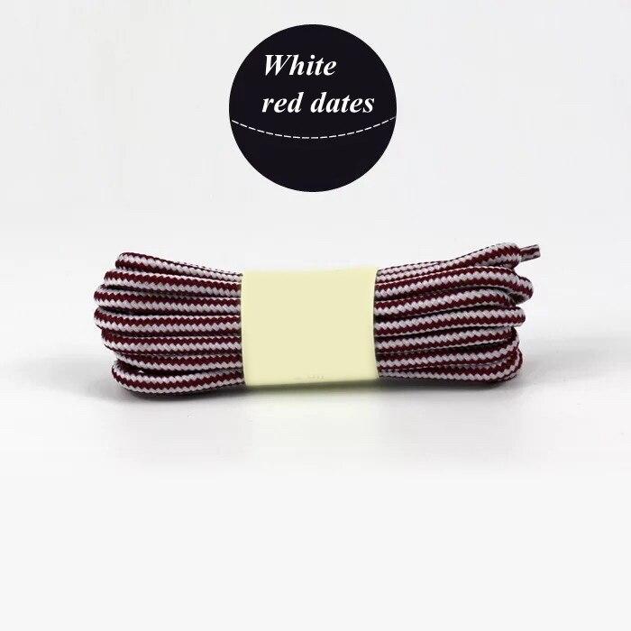 1 пара колготок в полоску двойной Цвет шнурки ботинки на открытом воздухе спортивные шнурки хлопок Круглые Шнурки 18 Цвета Длина 70 см, 90 см, 120 см 150 см - Цвет: White red dates