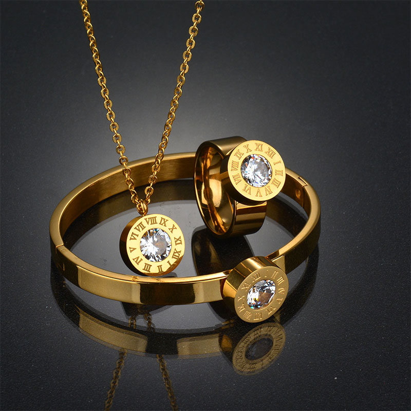 New Fashion High Quality 316l Stainless Steel Bridal Ruman Number Logo Jewelry Set Gold Wedding Jewelry Set Party Gift