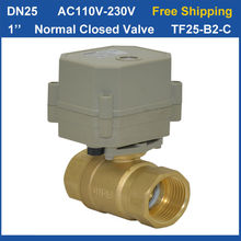 "Free Shipping! DN25 AC110V-230V 2Wires Normal Closed Valve TF25-B2-C BSP/NPT 1"" Full Bore Electric Ball Valve Brass Ball Valve"