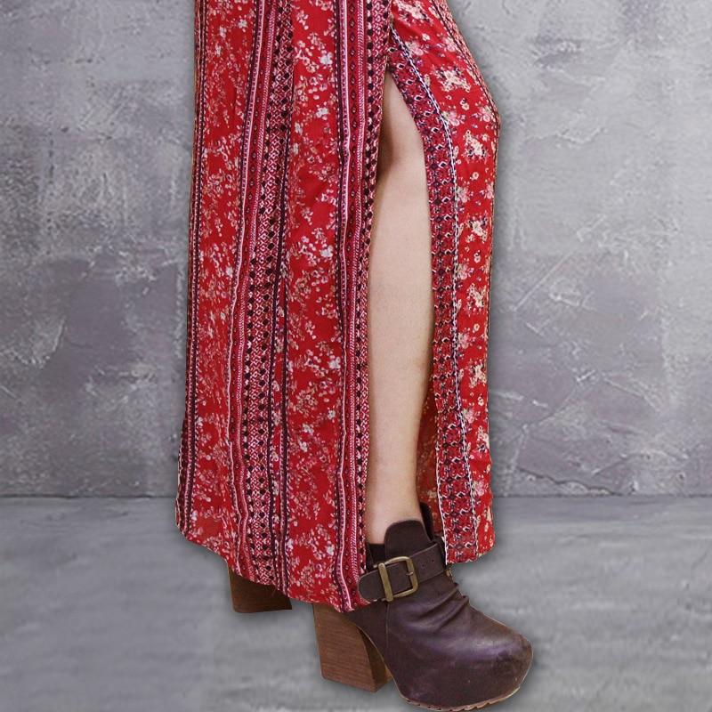 Flower Elegante Colour Streetwear Impresión Pantalón Vintage Algodón Pantalones Muxu Ancho Verano De Floral Bohemia Mujer qwW6PxRO7