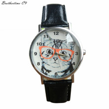 Brothertime C9 New Arrival Cat Pattern Leather Band Analog Quartz Vogue Dress Wrist Watch 090 Free
