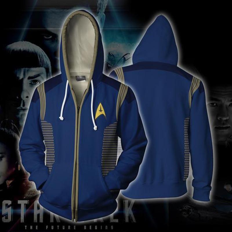 Star Trek толстовки Косплэй Звездного Флота команда науки 3D Куртки с длинными рукавами полный почтовый пуловер пальто унисекс джемпер кофты