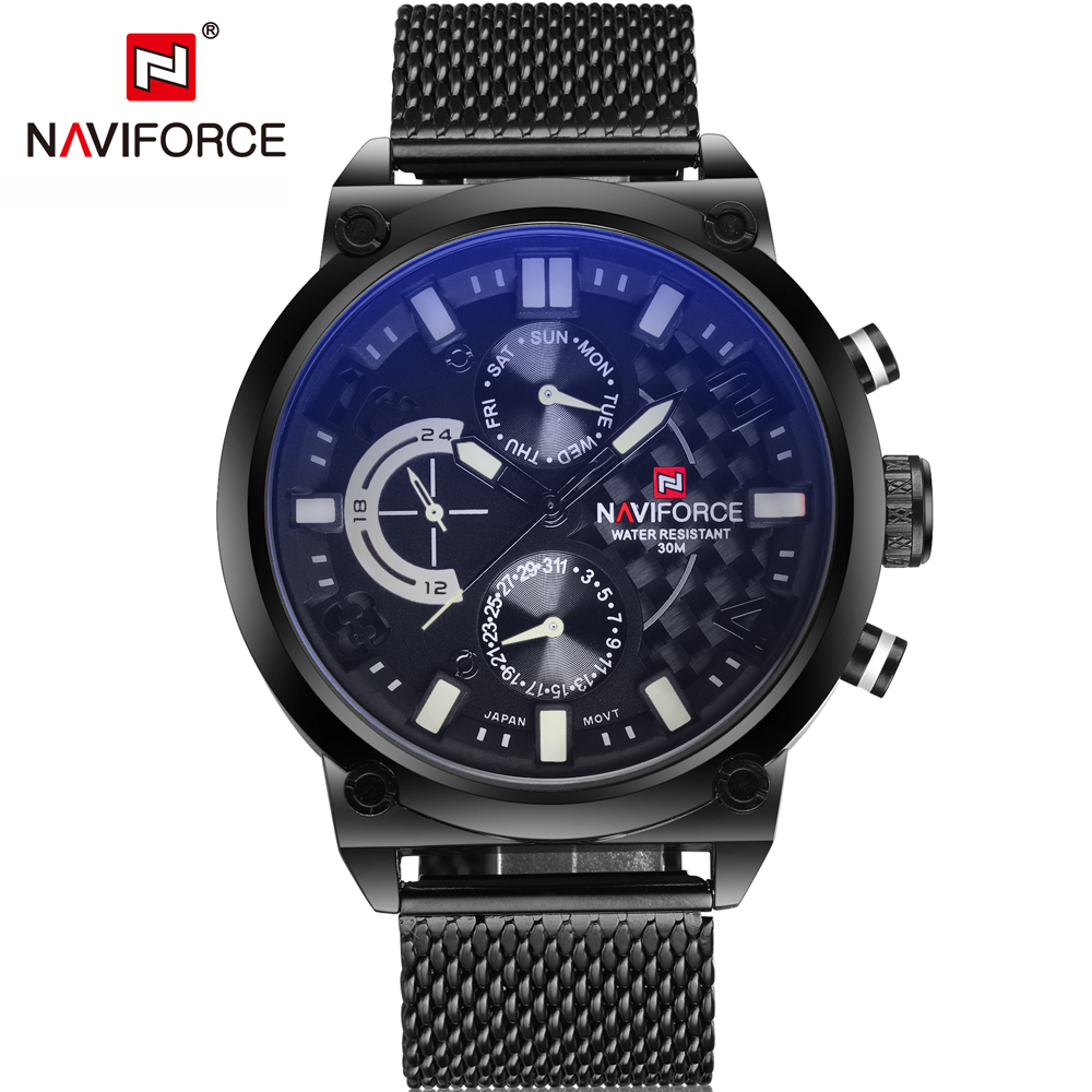 2016 NAVIFORCE Luxury Brand Analog Quartz Watch Man 3ATM Waterproof Stopwatch Army Military Sports Watches Men full steel Clock weide new men quartz casual watch army military sports watch waterproof back light men watches alarm clock multiple time zone