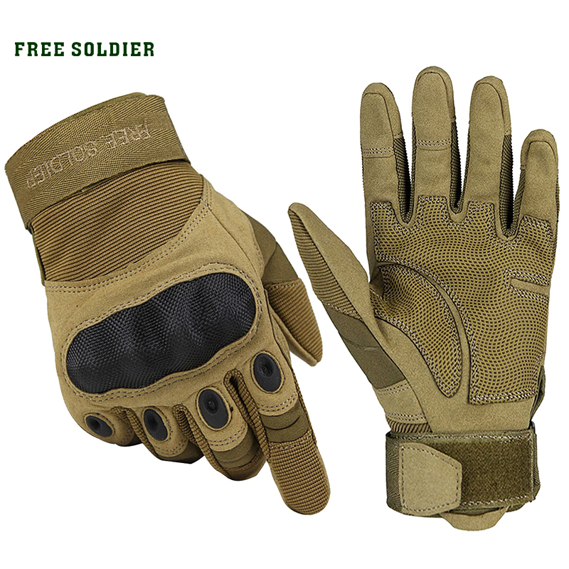 FREE SOLDIER Outdoor Sports Tactical Gloves, Climbing Gloves Men's Full Gloves For Hiking Cycling Training skull head pu leather half finger gloves