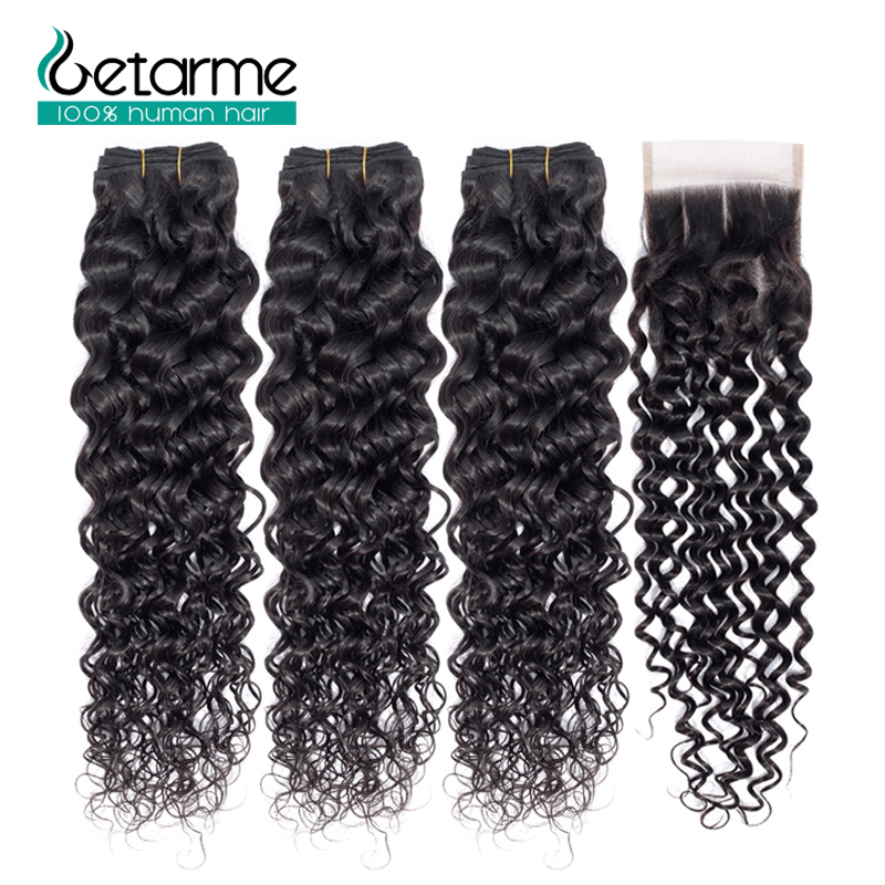 Brazilian 3 Bundles Water Wave Human Hair With 4*4 Lace Closure 100% Human Hair Natural Black Weaving Non-Remy Getarme Hair