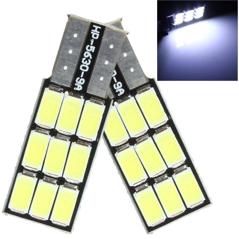 2pcs 12V Car Light T10 168 194 W5W 9 LED 5630 SMD Canbus Error Free Car LED Bulbs Wedge Side Parking Lamp Bulb White 10pcs led car interior bulb canbus error free t10 white 5730 8smd led 12v car side wedge light white lamp auto bulb car styling