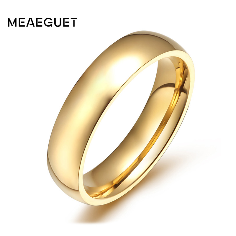 Meaeguet 4mm Wide Gold-color Stainless Steel Wedding Band Engagement Rings  For Women Men Jewelry USA Size 5-12