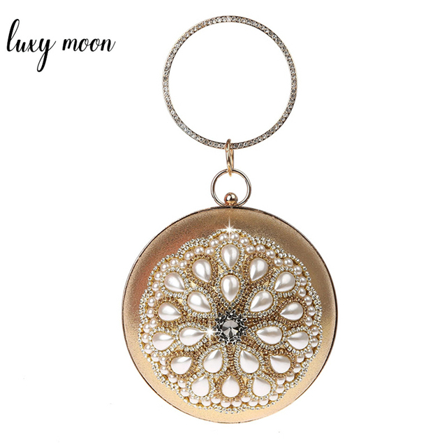 New Round shape evening bags luxury gold silver clutch bag pearls beaded women party purse and handbags chain shoulder bag