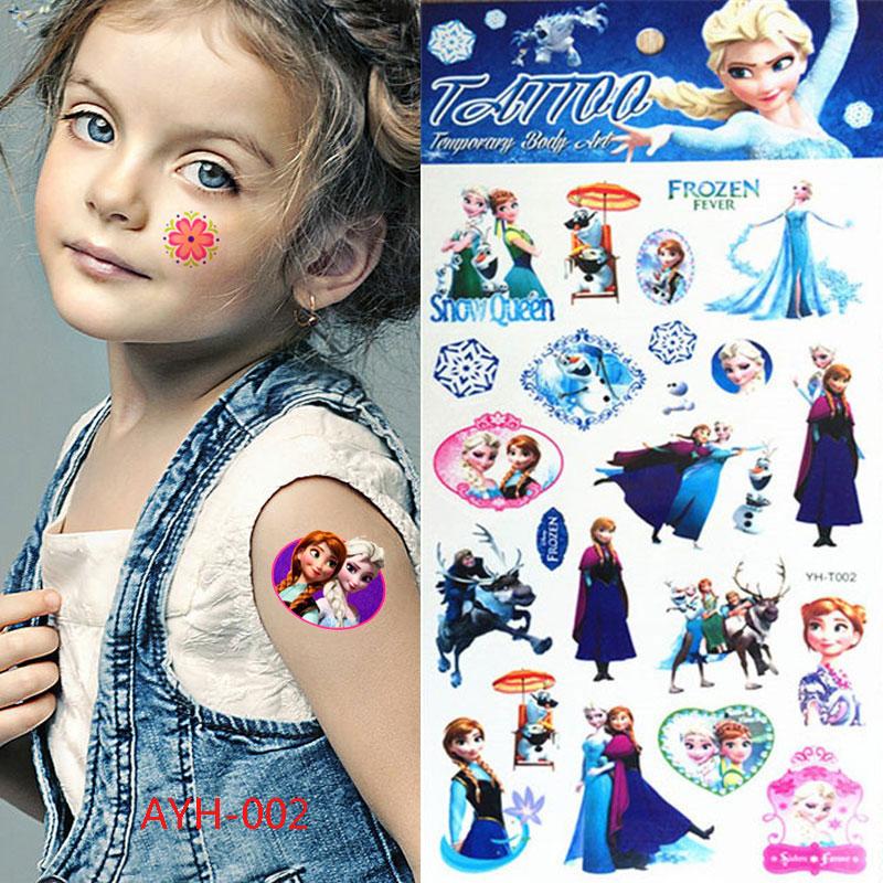 Hot Princess Anna Elsa Cartoon Tattoo Stickers Christmas Gift 21 * 10 Cm Flash Temporary Tattoo Stickers Henna Tattoo Stickers