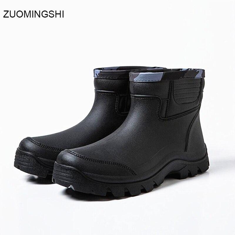 Black Rain Boots Men Bot Winter Fishing Boots Pvc Chef Shoes Non-slip Garden Shoes Vehicle Cleaning Snow Boots Men