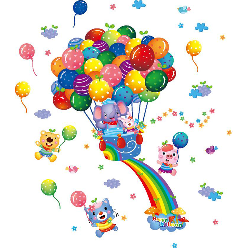 Cartoon Colorful Room: Colorful 3D Cartoon Animal Balloon Wall Sticker For Kids