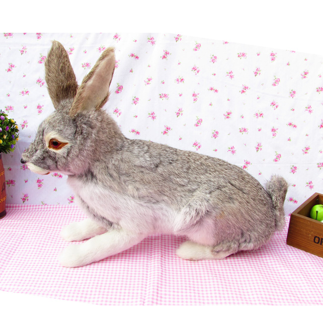 simulation animal large 44x35cm gray rabbit toy model polyethylene furs Resin handicraft decoration gift A1461