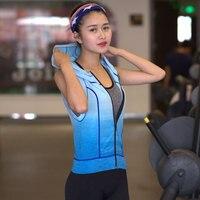 Gradiente Mulheres Sportswear Agasalho Com Capuz Top Camisas Do Esporte Em Execução Sem Mangas Camiseta Yoga Gym Academia Esporte Camisola Colete