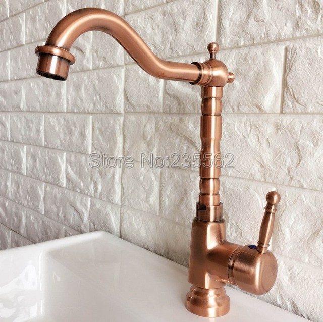 Antique Red Copper Kitchen Sink Faucet Swivel Spout Washbasin
