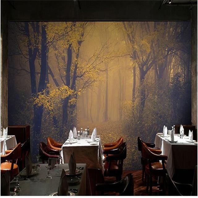AuBergewohnlich Wandbild Tapete Für Wohnzimmer Gelb Ahornblatt Nebel Wald Tapeten  Schlafzimmer Hintergrund Sofa Moderne Kunst Malerei Wohnkultur
