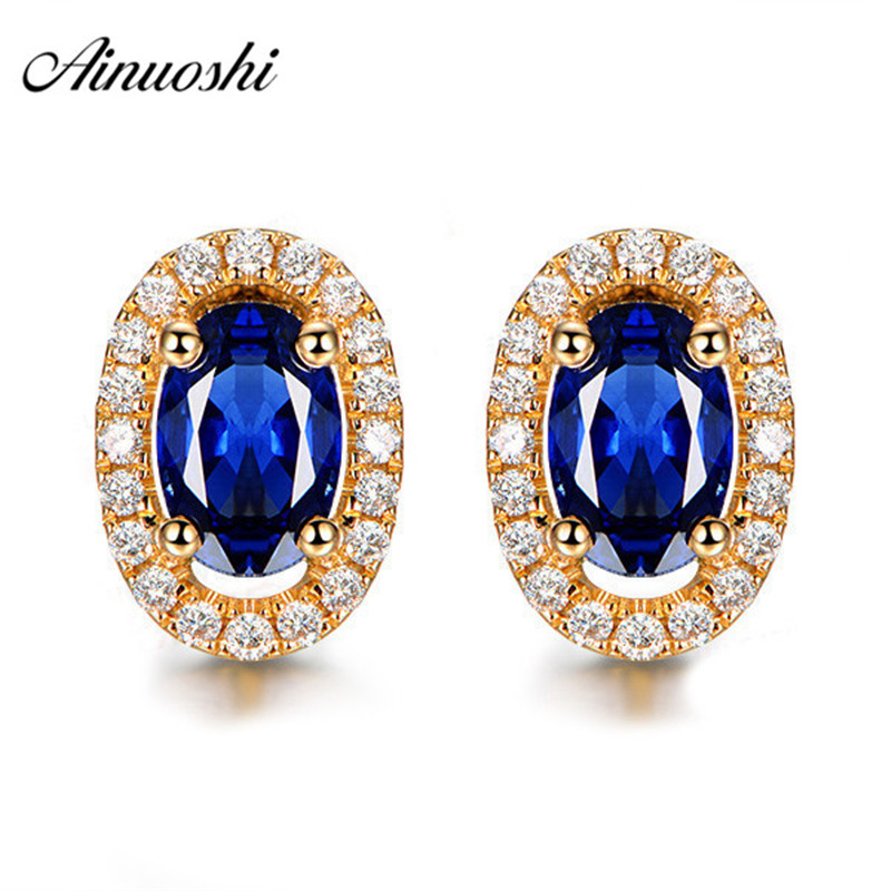 AINOUSHI 1.25 Oval Cut Blue Sona Halo Earrings 925 Sterling Silver Women Girl's Love Earrings Yellow Gold Color Lady Jewelry