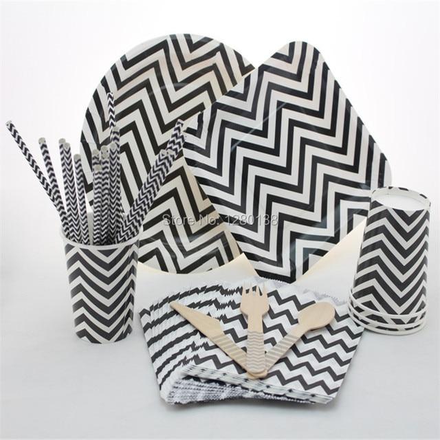 disposable 5 color party tableware set chevron paper plates straws