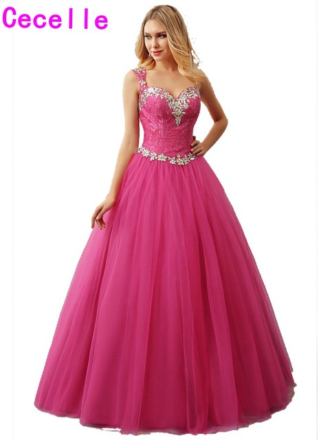 2019 Real Hot Fuchia Ball Gown Tulle Prom Dresses Sweetheart Crystal Lace Keyhole Back Corset Princess Prom Gowns Couture Custom