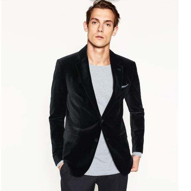 Два зерна пряжки теплый зимний мужской пиджак пользовательские бархатная куртка компания ужин друзей партии мужская костюм куртка