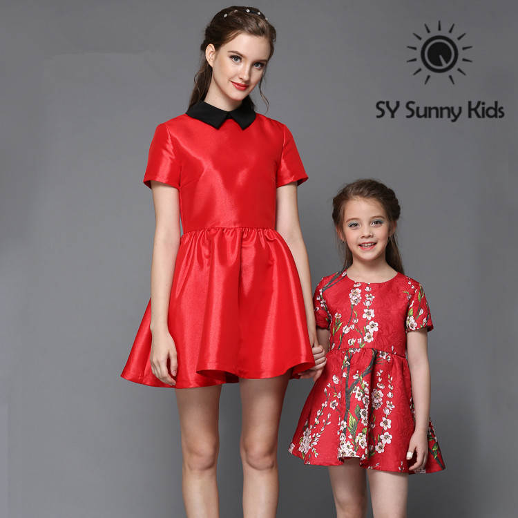 Top Grade Family Matching Outfits Summer Solid Red Color Matching Mother Daughter Dresses ...