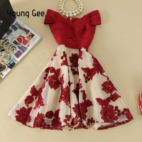 Young Gee Off Shoulder Bodycon Sexy Evening Party Bandage Elastic Dress Embroidery Floral Knee length Elegant Summer Dresses