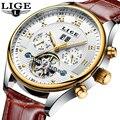 LIGE модные спортивные часы для мужчин бизнес кожаные часы для мужчин s часы лучший бренд класса люкс автоматические механические часы Relogio ...