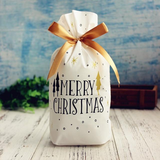 LAPHIL 10pcs Christmas Tree Christmas Gift Bags Lot Santa Claus Gift Bags Xmas Candy Bag Merry Christmas 2018 New year Favors 3