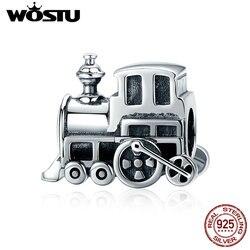 WOSTU High Quality 925 Sterling Silver Vintage Locomotive Train Car Beads fit Charm Bracelet DIY Silver Jewelry Making CQC507