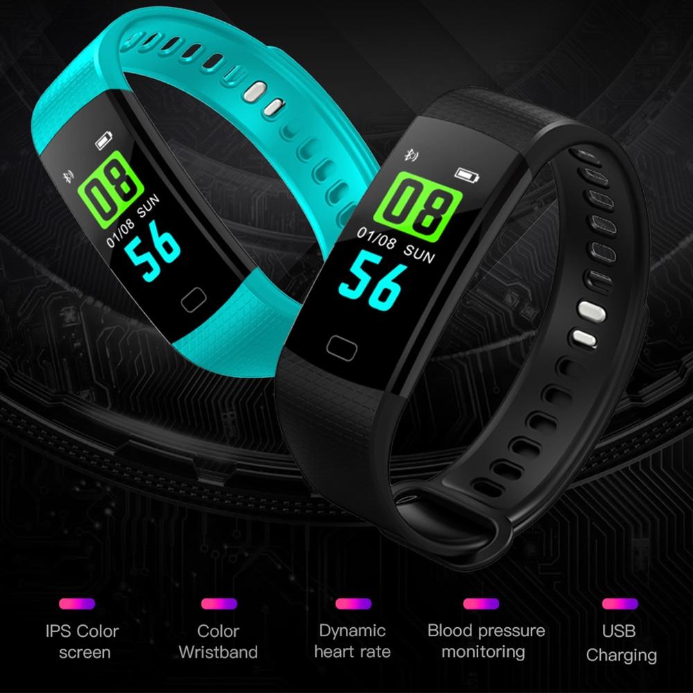 Y5 Smart Bracelet Hear Rate Blood Pressure Monitor <font><b>Bluetooth</b></font> Smart Band Color Screen Women Men Sport Fitness Track Pedometer