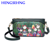 Free shipping hengsheng forest women shoulder bags with leather women messenger bags of cartoon forest women messenger bags