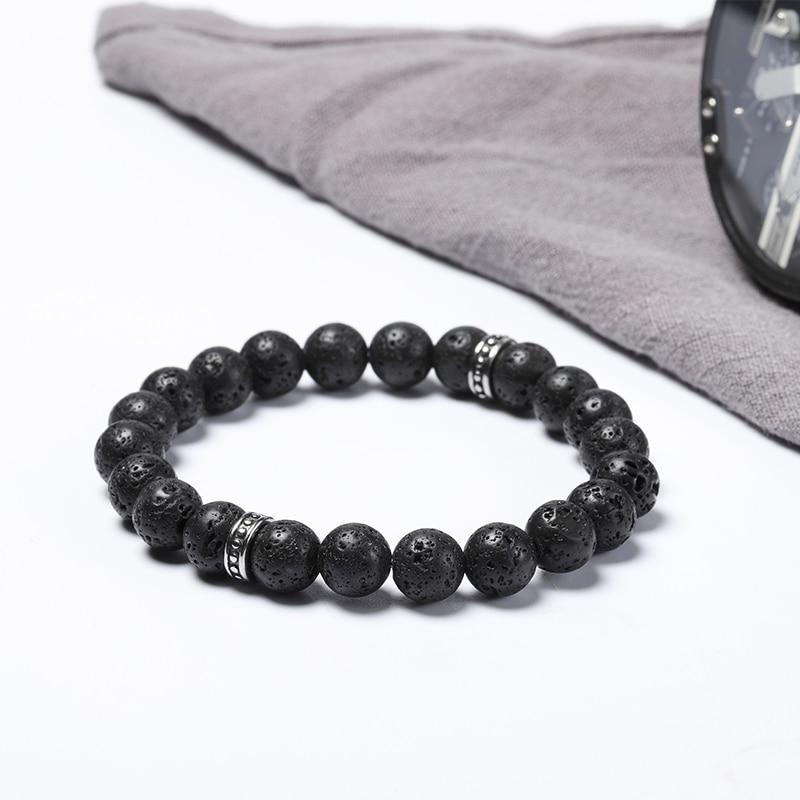 Wholesales 8mm natural stone beads bracelets Lava stainless steel bracelet 50pcs/lot+free shipping