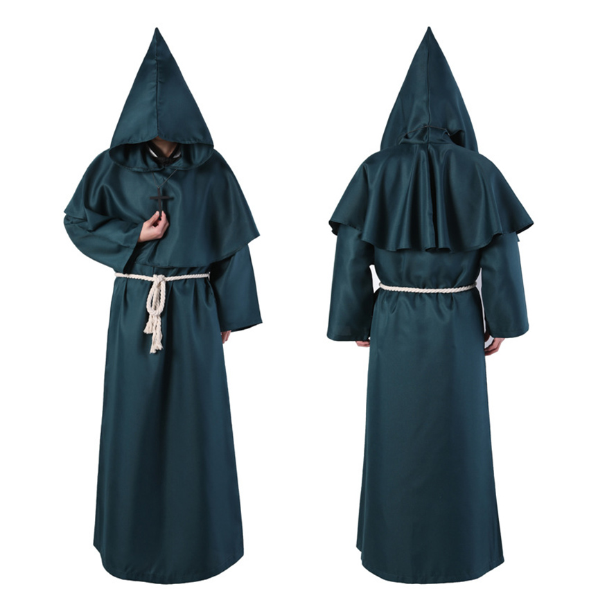 Horror Grim Reaper Costume Men Vintage Monk Cosplay Cloak Robe Scary Wizard Costume Halloween Costumes for women Dress 6