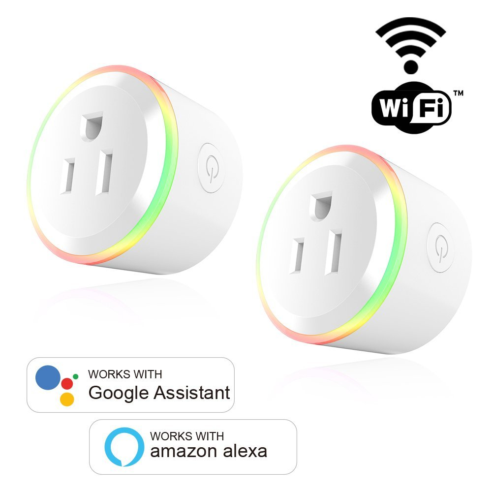 HOT-2 PACK 10A US Plug WiFi Mini Smart Plug Socket APP Remote Control Outlet Socket Works with Amazon Google Smart Home Light