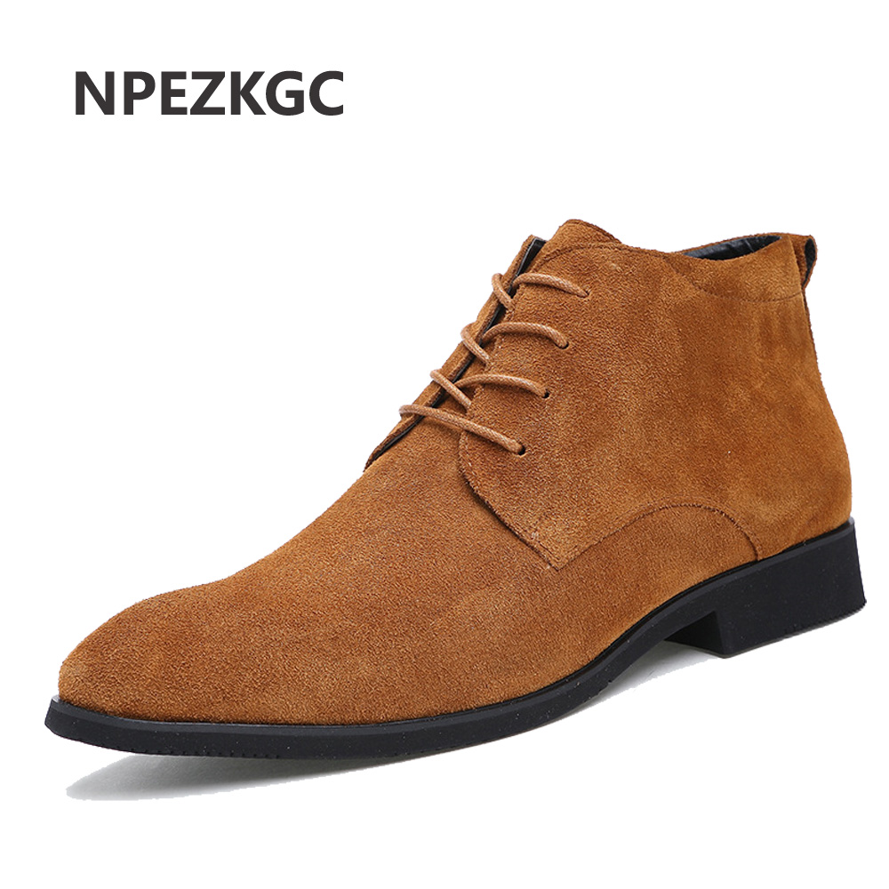 NPEZKGC Genuine Leather Men Ankle Boots Breathable Men Leather Boots High Top Shoes Outdoor Casual Men