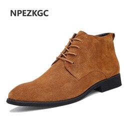NPEZKGC Genuine Leather Men Ankle Boots Breathable Men Leather Boots High Top Shoes Outdoor Casual Men Winter Shoes Botas Homme