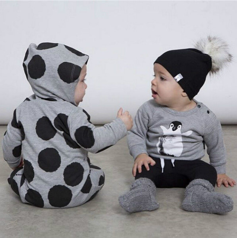 2017 Newborn Baby Boy Girl Clothes Fashion Bebes Spring Warm Long Sleeve Dot Zipper Hooded Romper One Pieces Outfit 0-24M 2016 fashion baby boy girl romper clothes autumn winter warm bebes playsuit zipper long sleeve jumpsuit one pieces outfits suit