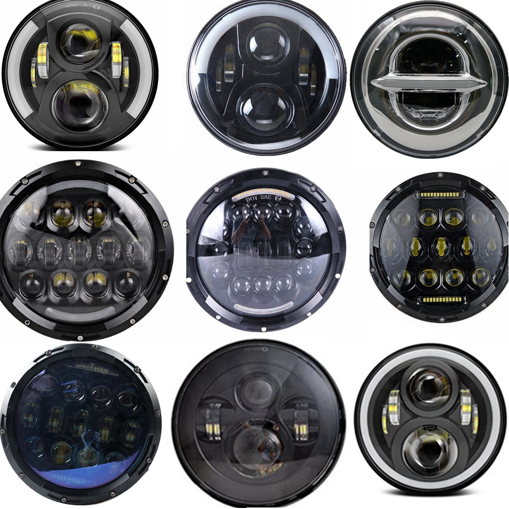 For Lada 4x4 urban Niva Halo Headlight 12 24v 7 Round H4 Hi low Beam Led