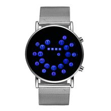 New Ultra-thin Led Ball Watch Student Led Watch Korean Version Of The Men's Watch Personality Trend Fashion Mesh Belt Watch(China)