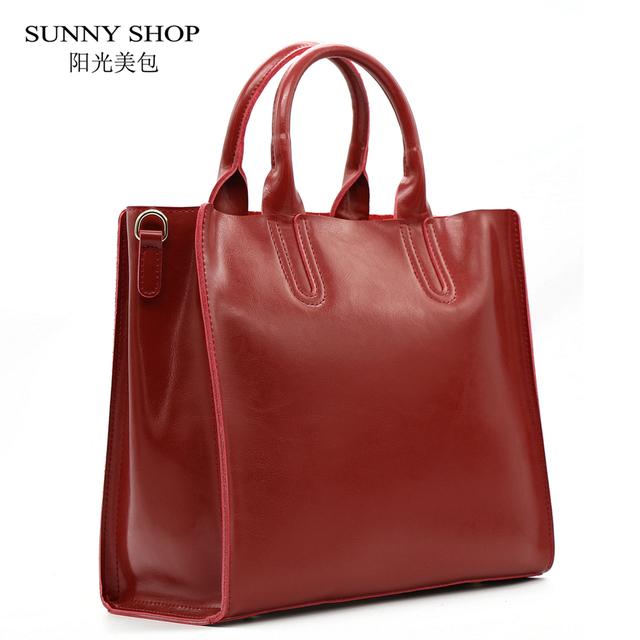 SUNNY SHOP  Autumn  Fashion 100%  Genuine Leather Women Shoulder Bag European Brand Designer Real Leather Bag Shopping Handbag