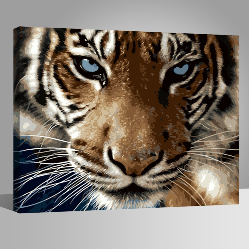 WEEN tiger 39 s sharp eye DIY Painting By Number kit Paint by numbers on canvas Home Decor Wall Picture Acrylic Paint 40x50cm in Painting amp Calligraphy from Home amp Garden