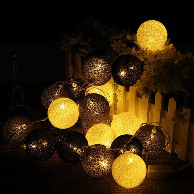 20Pcs Cotton Balls LED String Lights Luminous Colorful Balls LED Fairy Lamp  Party Patio Wedding Christmas