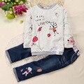 Moda de Impresión de los Bebés Que Arropan sistemas Lindos Niños de Impresión T Shirt Pantalones Niños Jeans Ropa Traje Niño de la Ropa 2 Unids