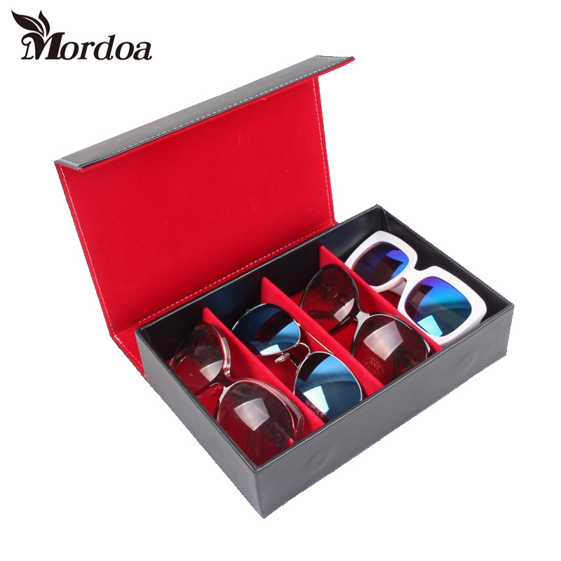 цена на Mordoa Wholesale Luxury Brand Glasses Case Women/Men PU 4 Gird Sunglasses Box Velvet Sunglasses Storage Shop Display Leather Box