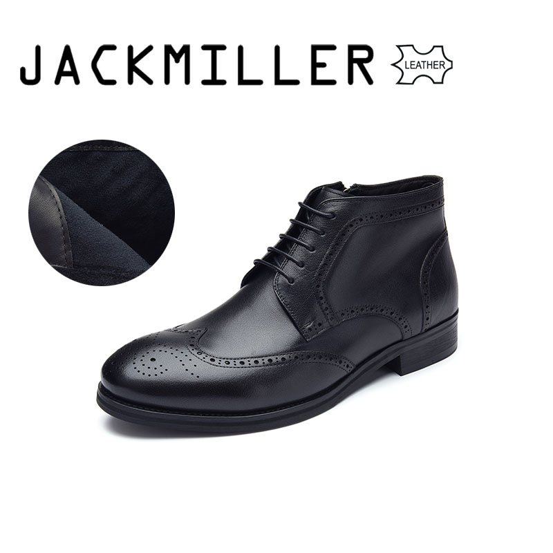 Jackmiller Men's Leather Boots Black Color Office Shoes Gentlemen Big Size Cow Leather Boot for Spring & Autumn Rubber Outsole italians gentlemen пиджак