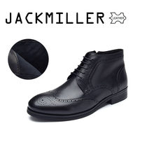 2e2d60f38191da Jackmiller Hommes botte en cuir de s Noir Couleur Bureau Chaussures  Messieurs grande taille Vache botte en cuir pour le Printemp.